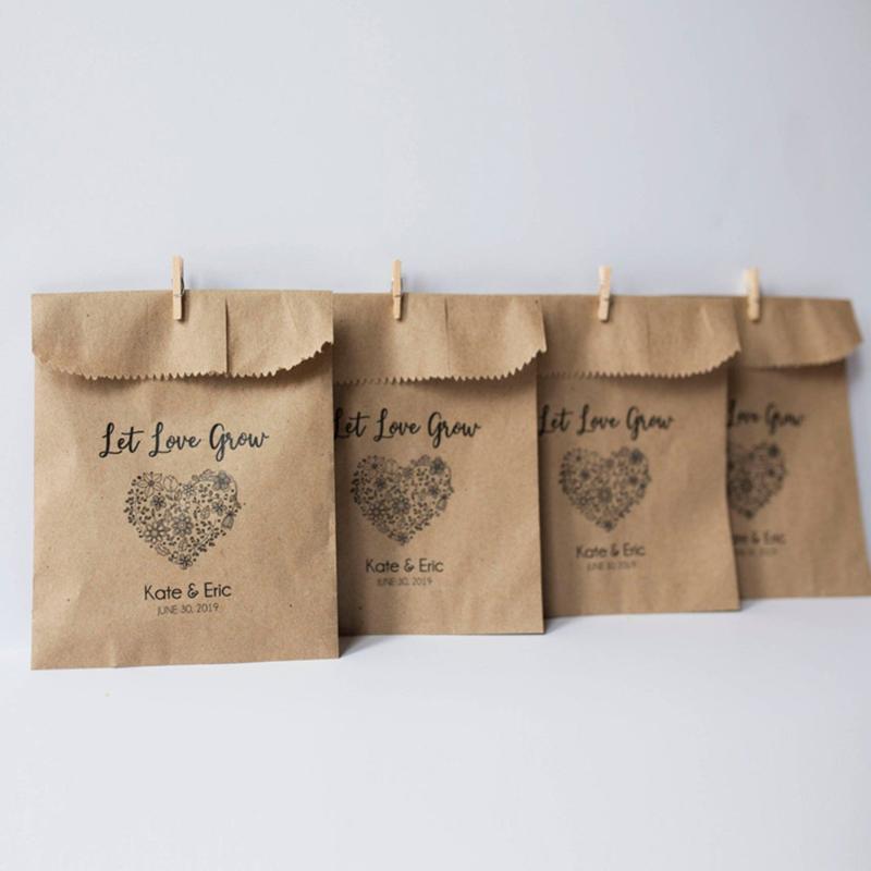 Borse da sposa involucro da regalo Lascia che l'amore coltiva i semi favoriscono la carta Kraft Favori rustici Bomboniere San Valentino