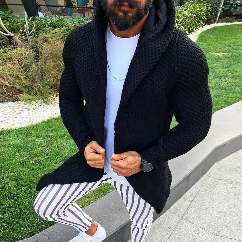 남성 후드 카디건 스웨터 긴 소매 니트 코트 열기 전면 남성 후드 스웨터 착실히 보내다 외투 2020 새로운