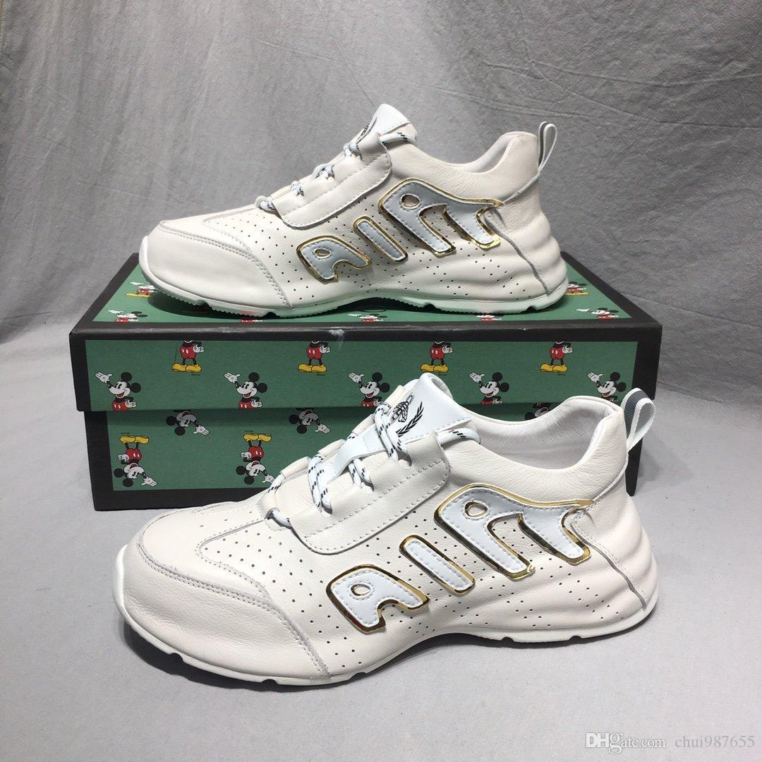 2020 W8 Moda Trend Erkek Tasarımcısı Ayakkabı Yüksek Kalite Deri Nefes Lüks Ayakkabı Dantel-up Casual Yürüyüşçülerden Ayakkabı Erkek Sneakers