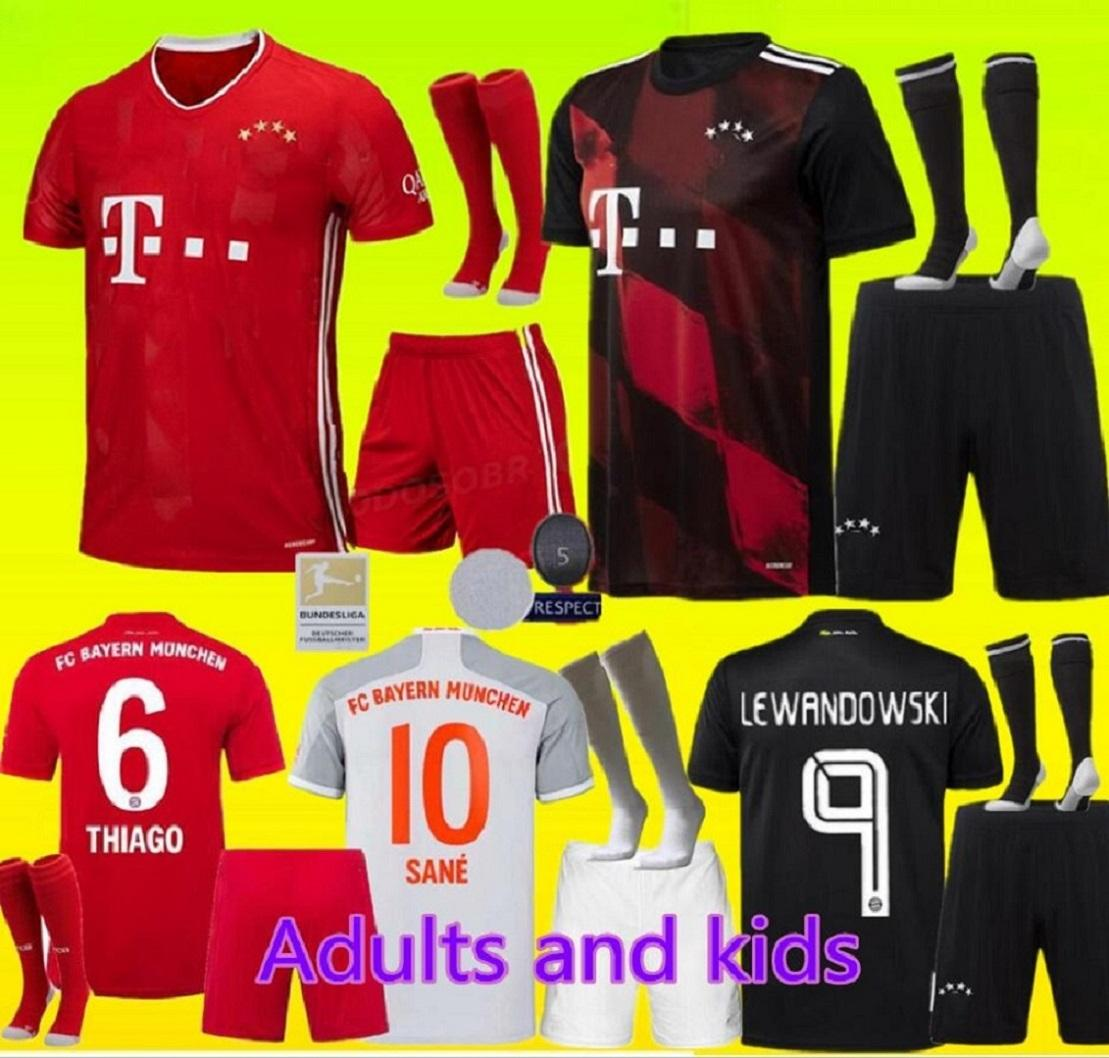 Взрослые и дети 20 21 Bayern Munich комплект трикотажных изделий футбола Левандовски 2020 2021 ЭРНАНДЕС Коутиньо ребенка взрослых формы Полного комплекта Футбол