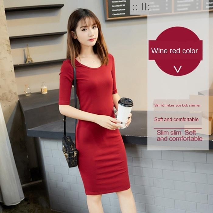 gpCnt D9bJr koreanische Frühlingskleid Baumwolle Mitte Länge der Frauen feste neue schlanke Mitte der Hülsengrundfarbe Rock Größe abnehmen Kleid