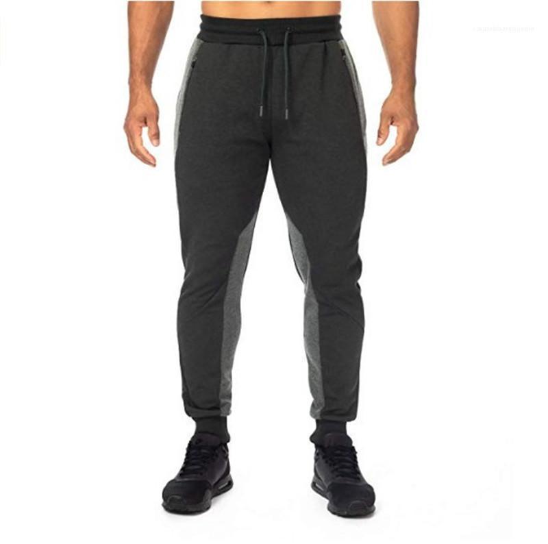 Con pannelli Pantaloni Uomo Casual Cordino Designer pantaloni della matita di colore naturale stile attivo pantaloni da uomo vestiti geometrici