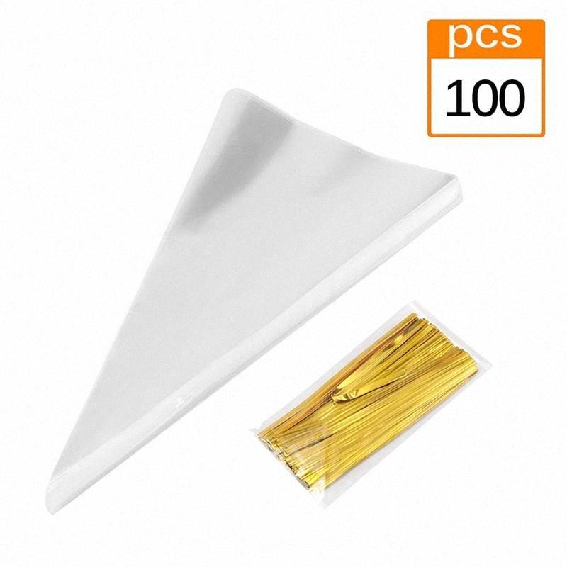 100pcs/Lot DIY Candy Bag Wedding Favors Birthday Party Decoration Sweet Cellophane Transparent Cone Storage With Organza Pouches cElw#
