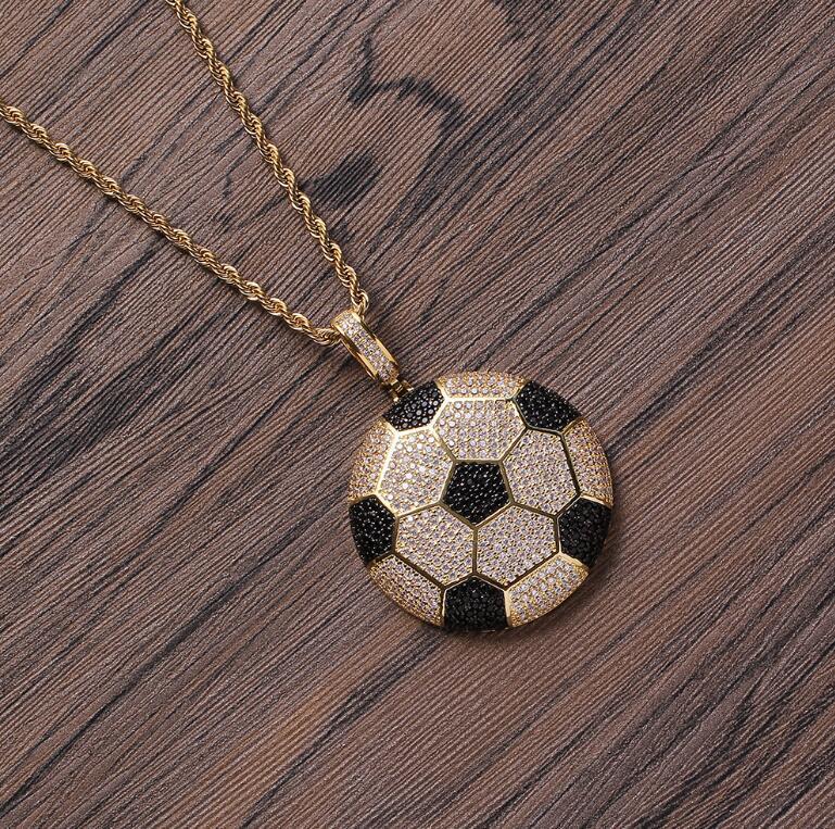 hip hop colares bola pingente pequeno para homens mulheres de luxo colar de jóias cadeia de torção banhado a ouro zircão cobre