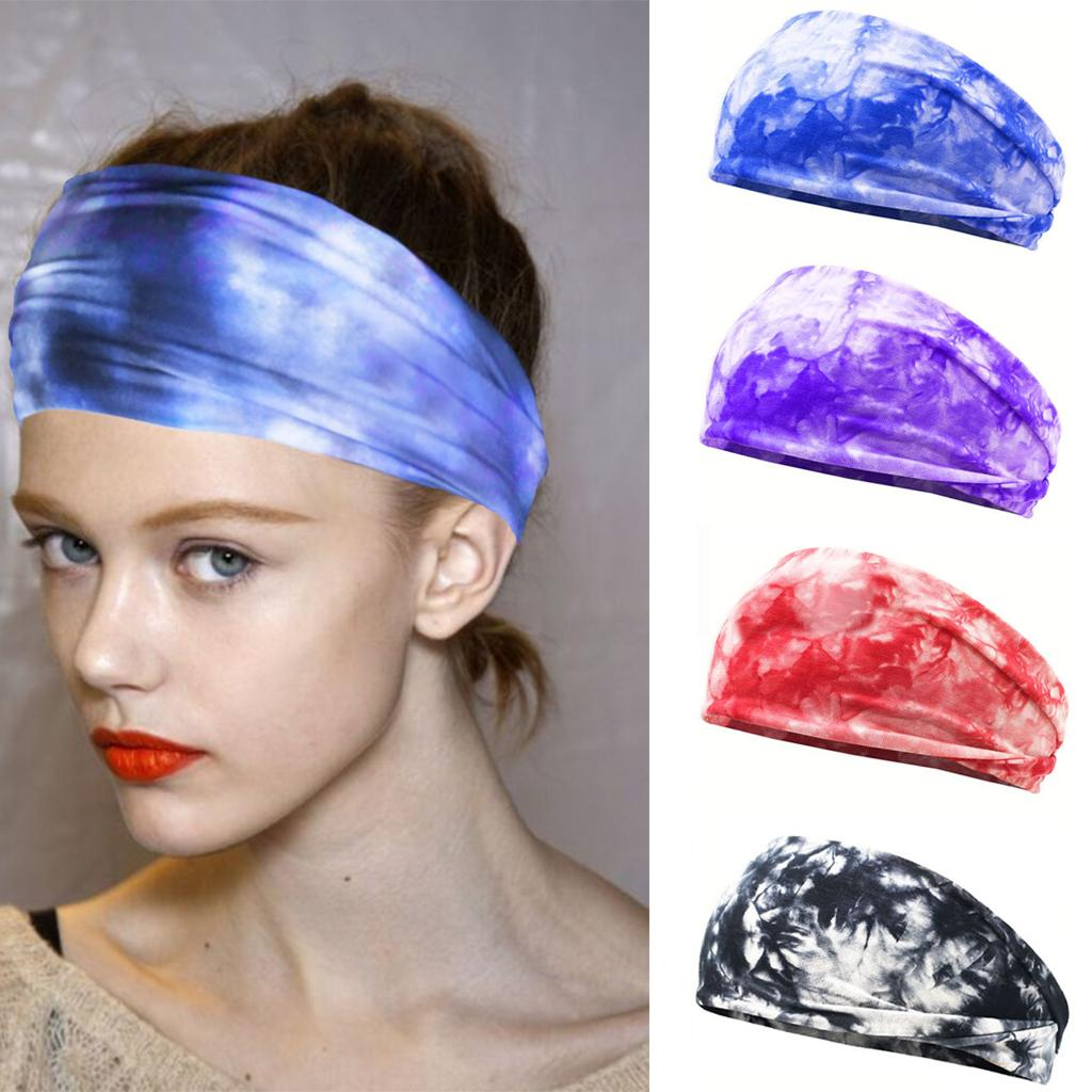 Tie-Dye Sweat Cotton Stretch Headband DIY Colored Printed Women's Sports Yoga Elastic Hair Bands for Hair Accessories Turban