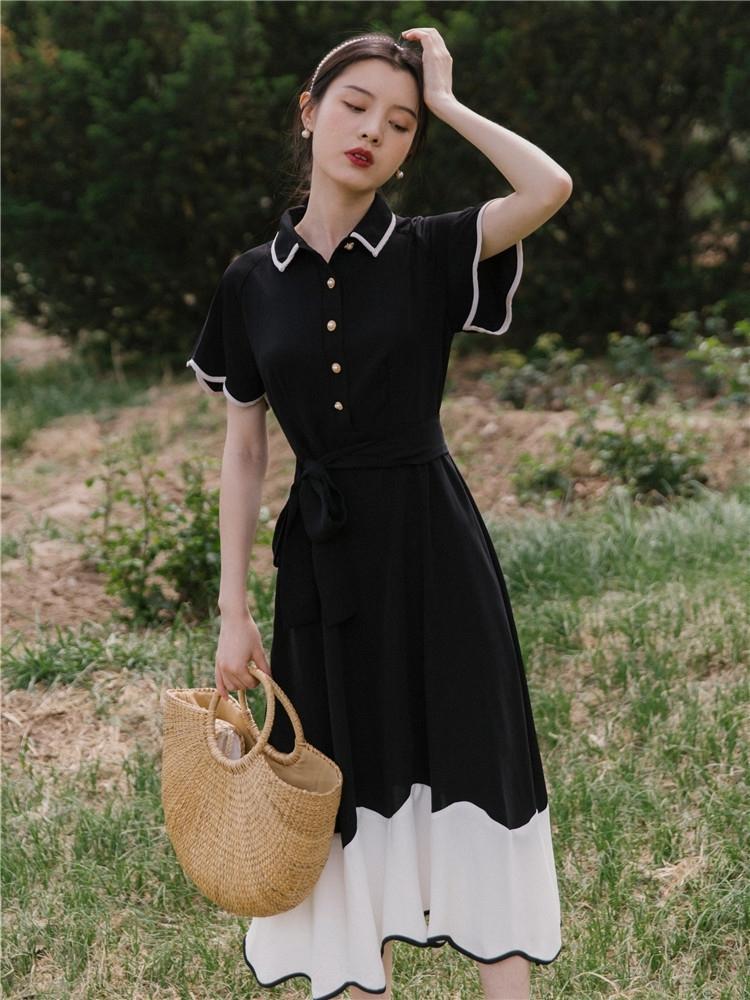 estilo ktKB6 Francês Platycodon cintura vestido grandiflorum emagrecimento elegante para mulheres verão preto Hepburn WYy09 melhorou cheongsam Cheongsam bla