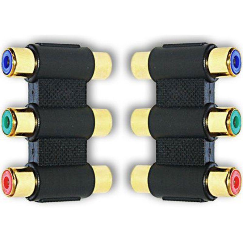 3 х RCA Phono RGB компонентного видео Coupler Joiner адаптер F-F ЗОЛОТО
