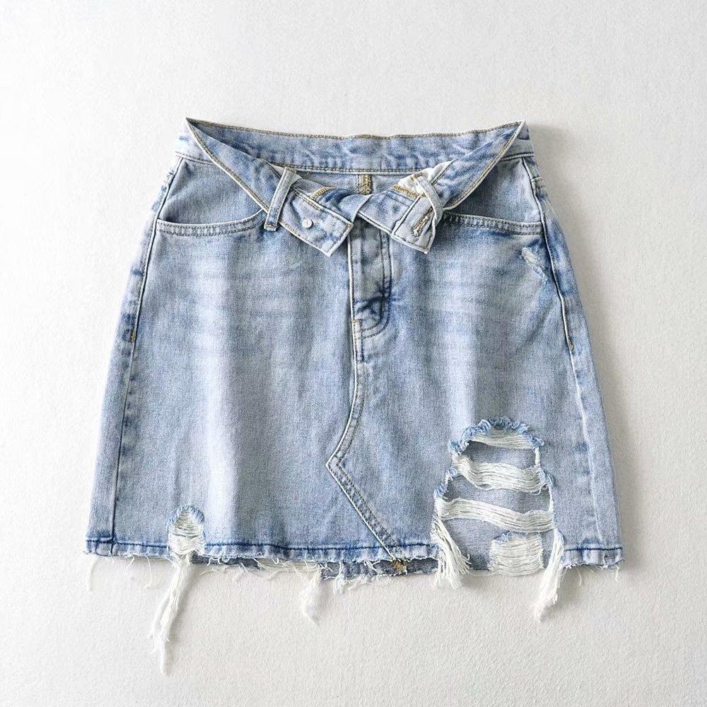 buraco denim saia estilo Lciil FwCBt coreana 2020 D055 nova cintura alta flanging denim cobertas de hip das mulheres overskirt Verão