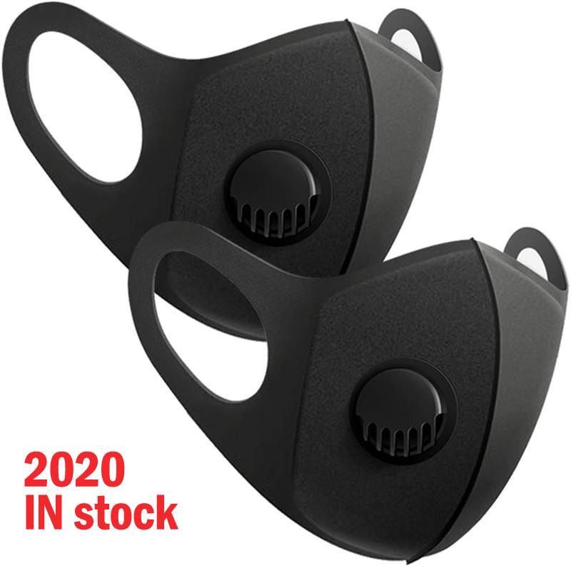 em estoque Máscara de esponja com válvula lavável reutilizável Facemask Cara da forma Máscara Anti Poluição Anti Poeira Pacotes Individuais
