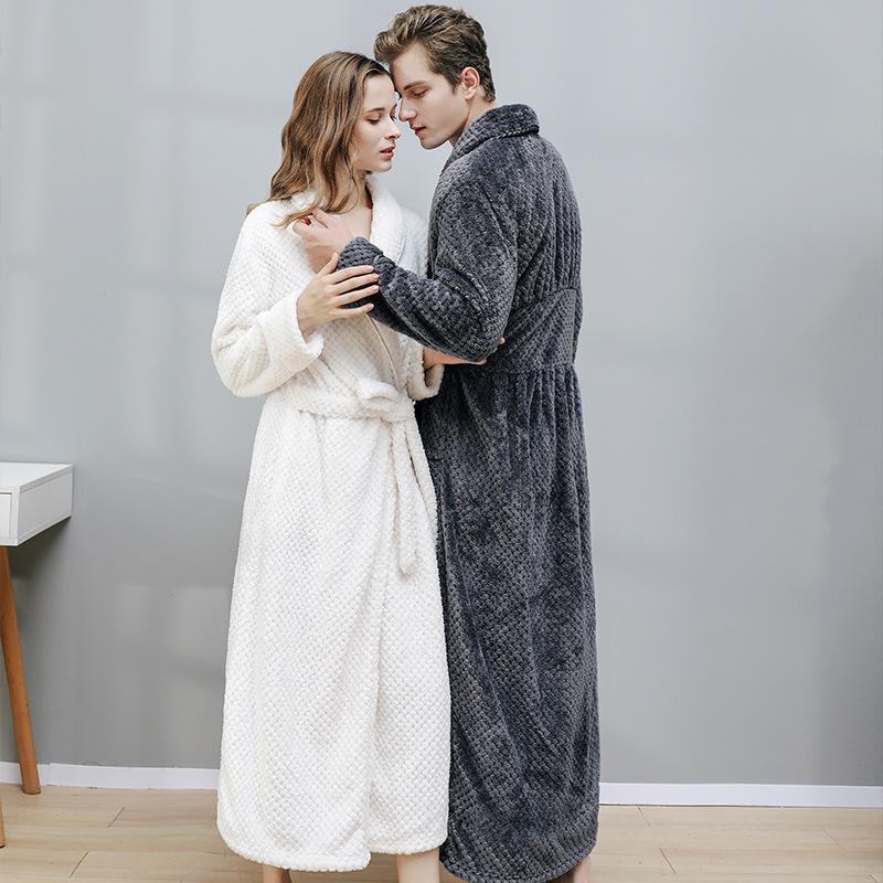 Hommes Femmes Wintyer Peignoir confortables longues Kimono Peignoir quelques pyjama Accueil molletonnée V-cou de nuit