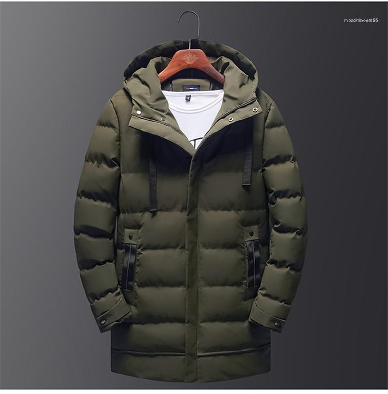 Lungo parka Designer inverno spesso Mens cappotti zip e bottoni Homme cotone imbottito Giacca Moda Uomo Solid