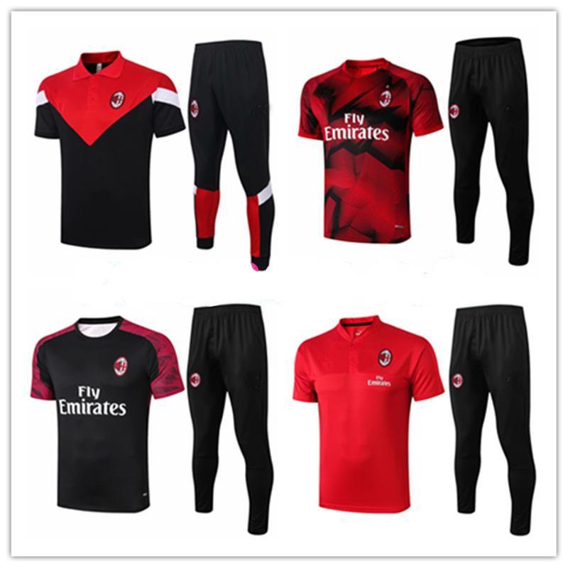 2020 2021 AC milan mens polo shirt Borini short sleeve Suso tracksuits football jersey Piatek 19 20 21 training tshirt Ibrahimovic Tee kits