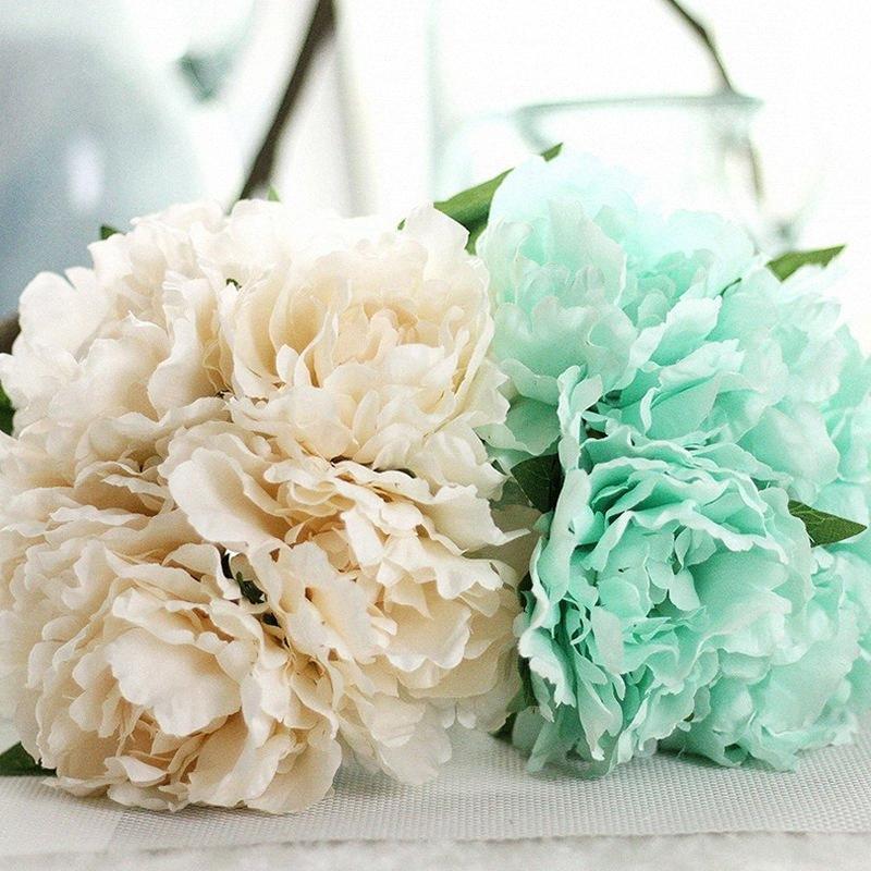New 27 centímetros 1 maço Artifical flor de seda flor Peony Bouquet para uma festa Coroas Casamento Casa Garden Decoração Acessórios YR4d #