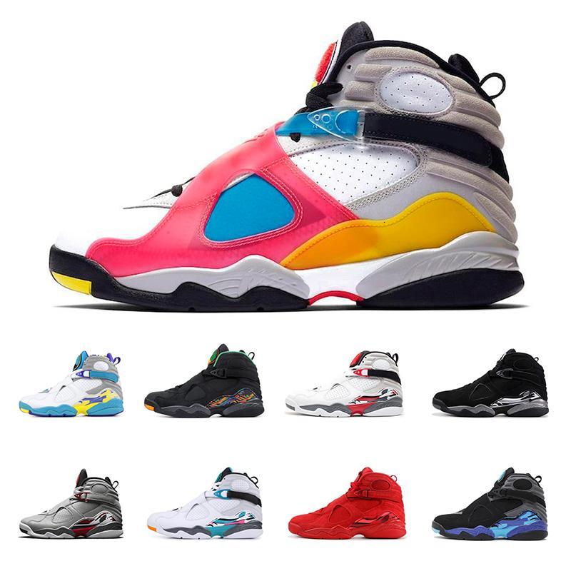 8 hombres zapatos de baloncesto 8s Multi-Color de Deportes PLAYOFF Reflexiones de un campeón de las zapatillas de deporte de la aguamarina Un negro NakeskinJordánRetros Deporte