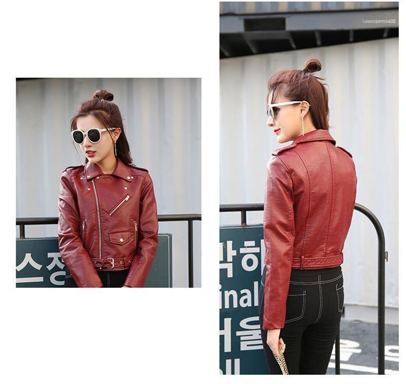 Manteau Courtes Printemps femmes Petit manteau en cuir double Revers vêtement Zipper personnalité de la mode à manches longues Femmes Veste