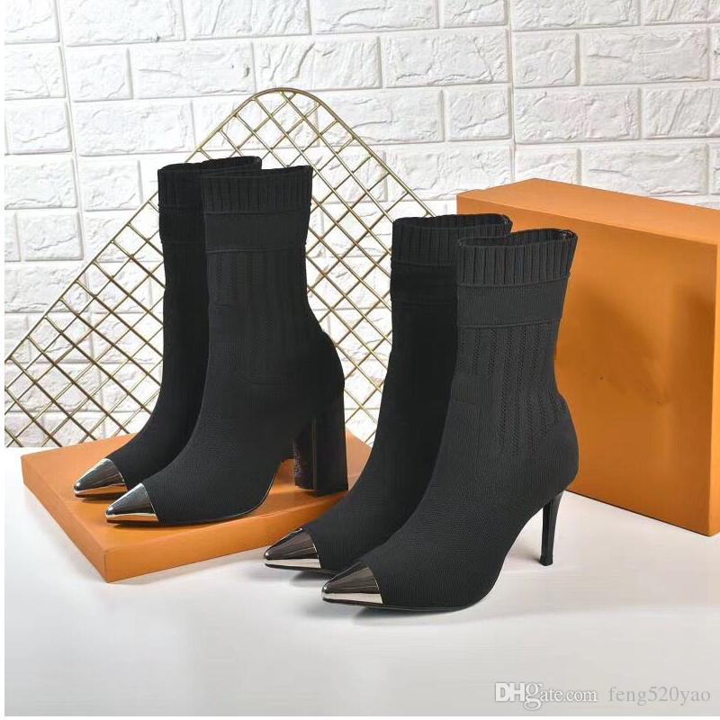sexy mujer zapatos puntiagudos en el otoño invierno de punto elástico botas de diseñador Martin calcetines botas botas de lujo de gran tamaño zapatos de tacón alto de la señora,