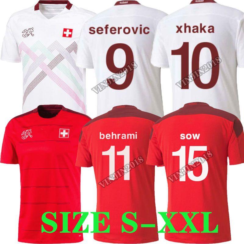2020 2021 maison maillot de football Suisse rouge loin 20 21 SOW Suisse Behrami émbolo SEFEROVIC RODRIGUEZ football chemises tops uniformes thaïlande