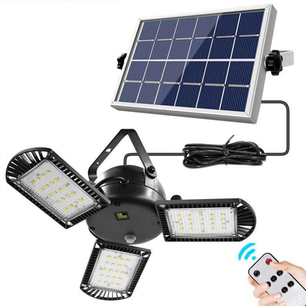 Solar LED Garage Light Jardin Street Lights Pliante Lampe de déformation à trois feuilles Lampe d'urgence extérieure pour atelier d'entrepôt à domicile