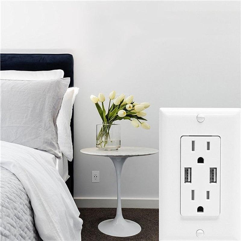 US Socket 2 Prise USB Port Chargeur 5V 2100mA Blanc Wallpad Mur de luxe double USB Electric Power Outlet Panel PC