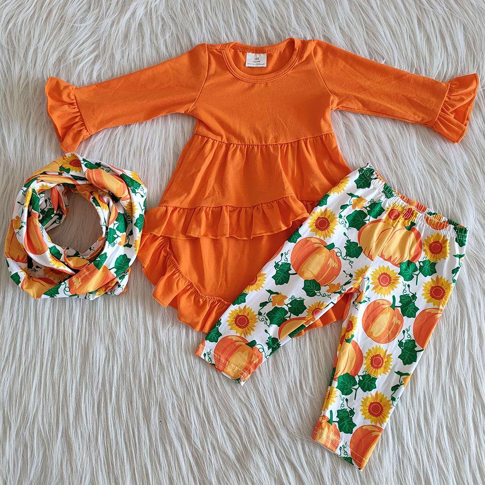 2020 filles vente chaude tombent tenues vêtements Halloween enfants d'impression citrouille tenues en coton boutique avec des jeux de filles écharpe vêtements tombent