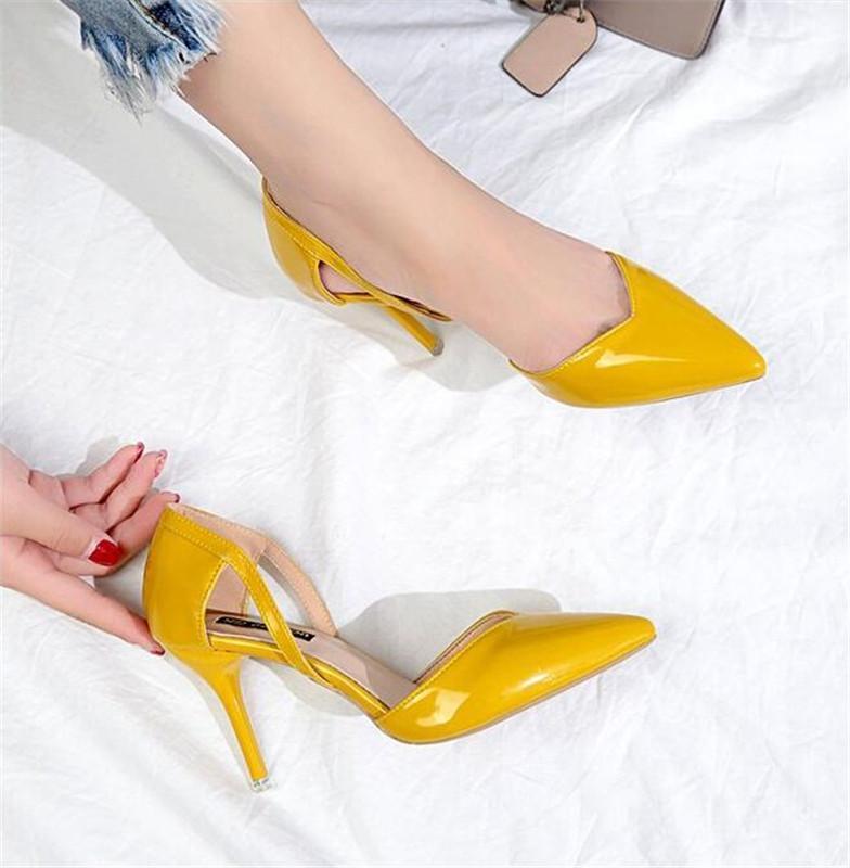 NUOVO Scarpe a punta Fetish Luxury Designer Donna estrema Muli Tacchi alti delle donne sexy scarpe da donna verde pompe di nozze Nero Giallo
