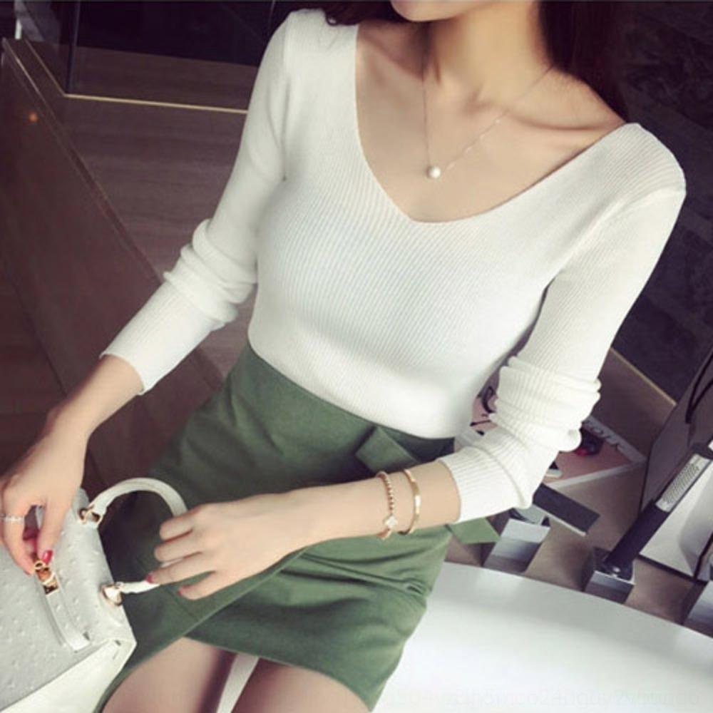 doppio scollo a V manica lunga stile coreano 2020 autunno per Top base tesa camicia Pullover superiore donne magre maglione pullover a maglia GWRzw