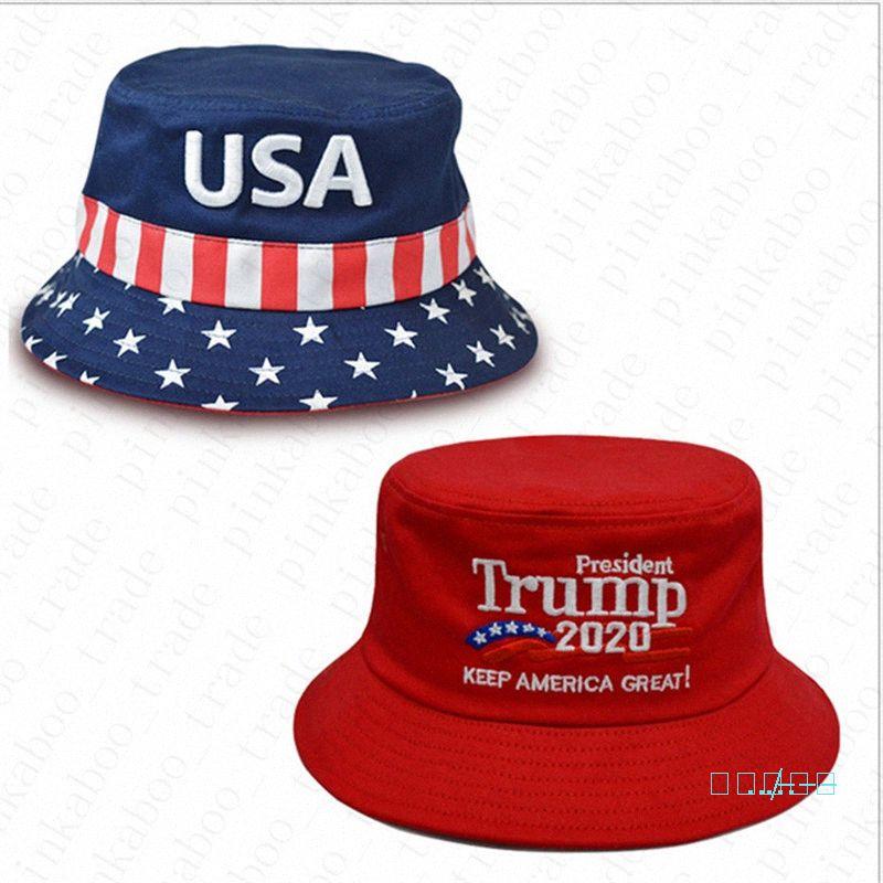 2020 2020 Donald Trump viagem Cap Eleição bordados de algodão Bucket Chapéus EUA Impresso Verão Sun Visor Sports Praia Fisherman Hat Headg Ml43 #