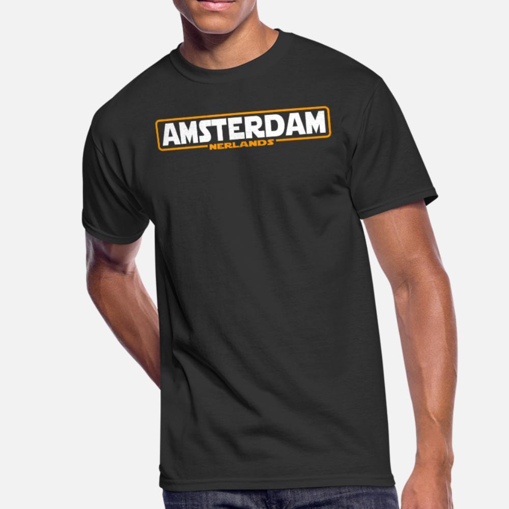 Amsterdam, Nerlands T-Shirt Männer Customized 100% Baumwolle Größe S-3XL Kostüm Anti-Falten-neue Art und Weise Sommer-Standard-Hemd