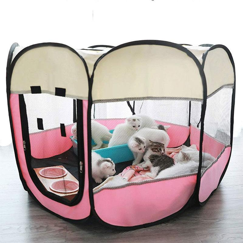 Foldable Dog Tent Portable Cage Pet Houses Playpen Puppy Kennel Octagon Fence Outdoor for Small Large Dogs Crates Pet Supplies