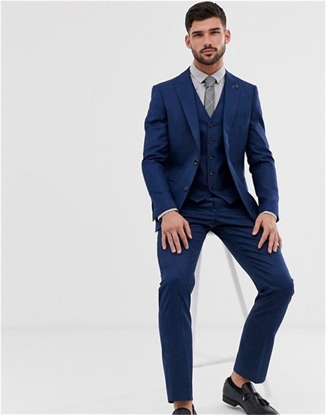 Klasik Groomsmen Tepe Yaka Damat smokin Mavi Erkekler Suits Düğün / Balo Sağdıç Blazer (Ceket + Yelek + Pantolon + Kravat) O1044
