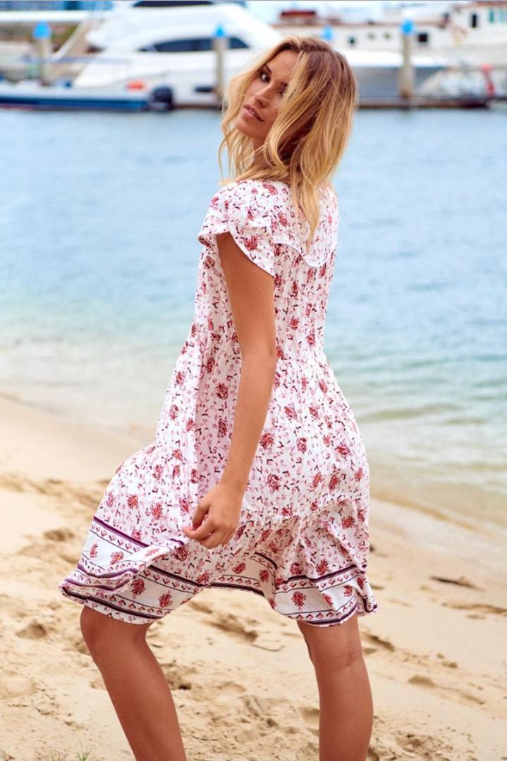 Bohemian Kleider mit Blumenmustern mit V-Ausschnitt Womens A Line Kleider Short Sleeve Ferien Mode-Mädchen-beiläufigen Kleid-Strand-Sommer-Damen