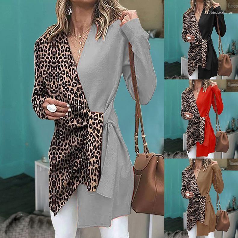 ليوبارد طباعة أنثى ملابس نسائية V الرقبة مصمم معاطف الخندق مثير كم طويل لون التباين معطف