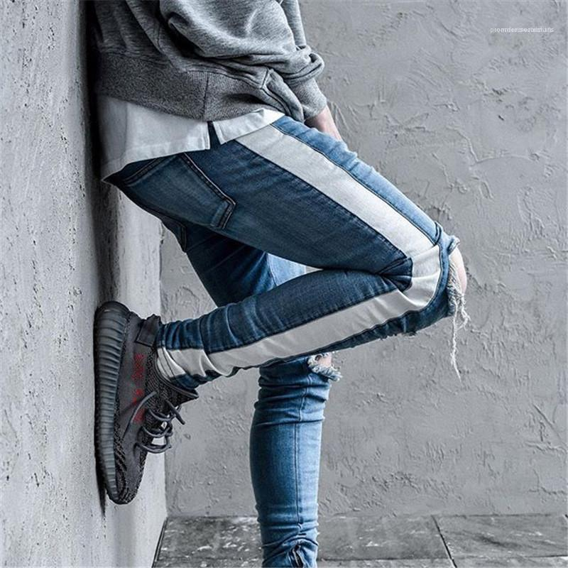 Lambrissé Ruban Slim Zipper Fly Mid Jeans taille Street Fashion Pantalons Hommes Vintage Hommes Desigenr Jeans Fashion Ripped
