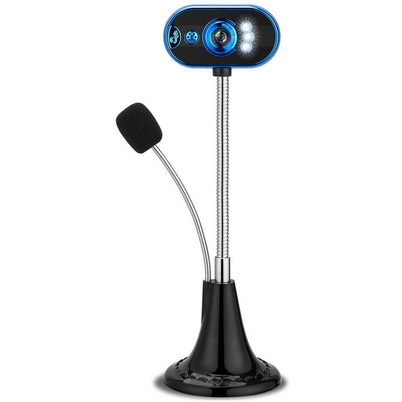USB HD Webcam com Home Office Microfone Night Vision Function Video Camera LED com microfone
