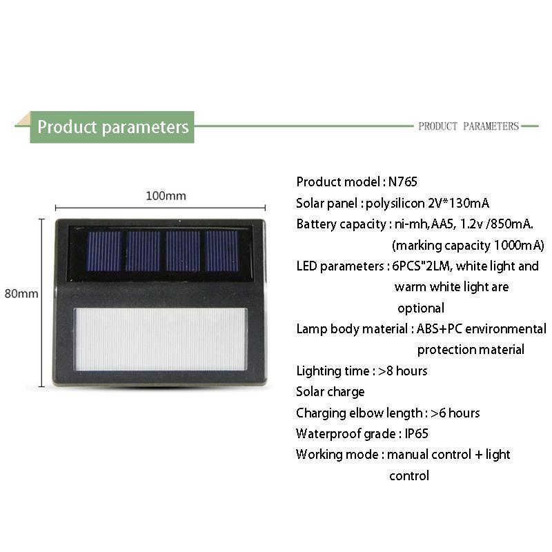 1PC 6 leds impermeável ao ar livre lâmpada Jardim LED Solar Power Sensor de luz Wall Light Sensor Corredor emergência Sconce solares Sconces
