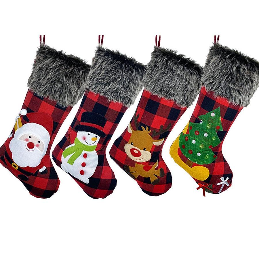 봉제 크리스마스 양말 선물 가방 대형 크기 격자 캐디 백 Xams 트리 장식 양말 장식 크리스마스 선물 포장 RRA3636