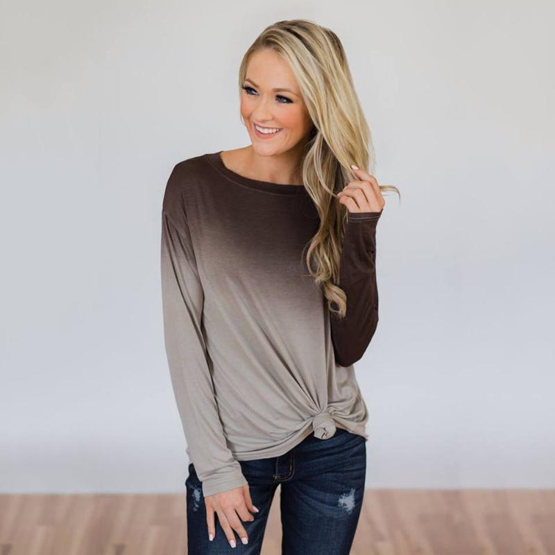 인쇄 그라데이션 컬러 홈 소프트 긴 소매 착실히 보내다 매일 여성 T 셔츠 - 온라인 쇼핑은면 혼방 슬림 사무실 크루 넥 캐주얼