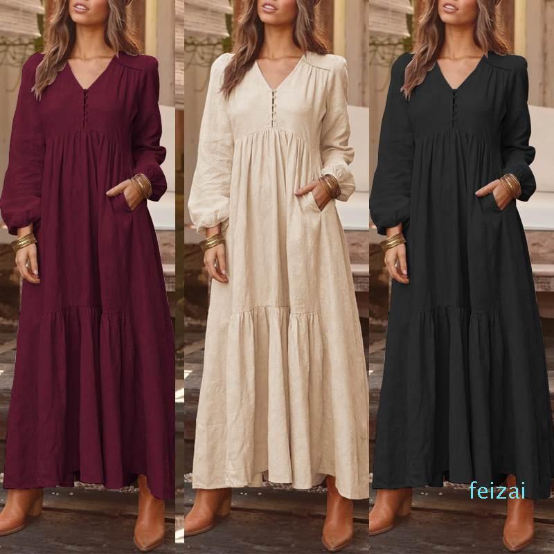 Venta caliente 2020 ZANZEA mujeres Maxi vestido de Bohemia informal plisado V Pockets Botones partido del cuello Vestidos largos de algodón de las señoras vestidos túnica