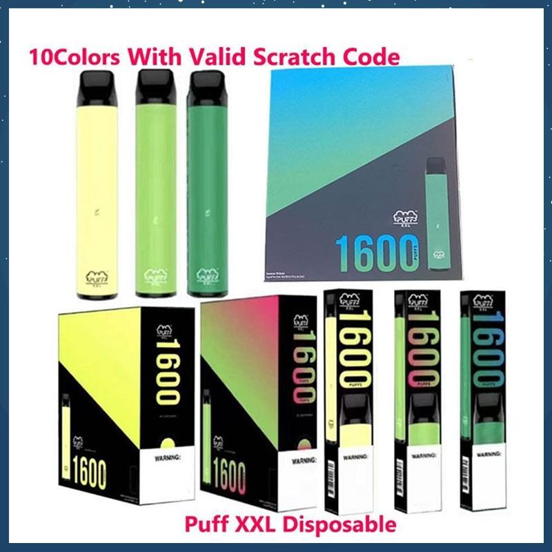 Puff XXL 1600Pappen Einweg mit gültiger Kratzer-Code Vape-Stift-Gerät Starter-Kits leeres Einweggerät Kits Puff Flow Puff Xtra Plus