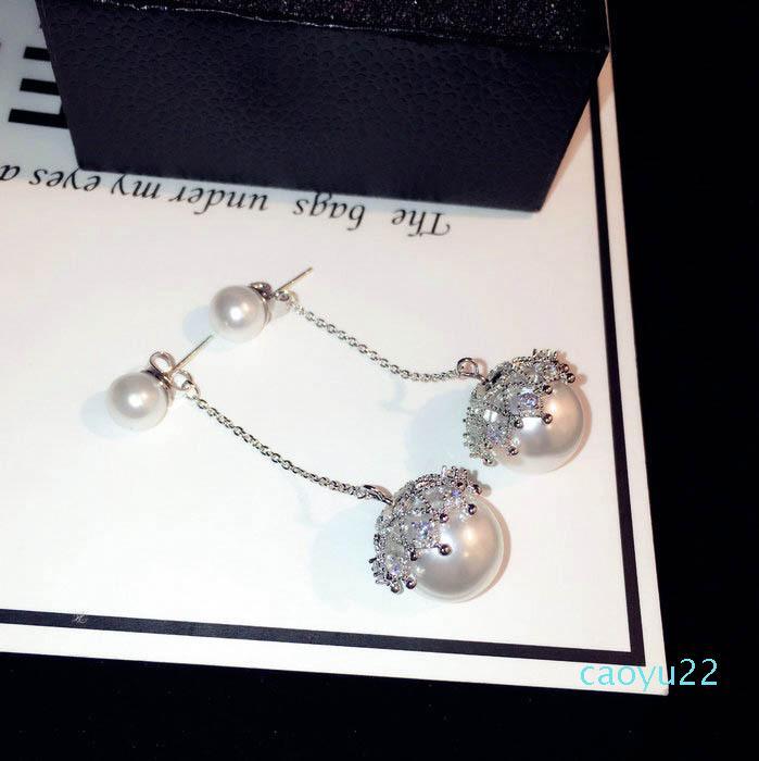 Sıcak Satılık Sıfır ins moda lüks tasarımcı köpüklü elmas zirkon uzun inci damla avize sarkıyor mu damızlık küpe kadın kızlar için