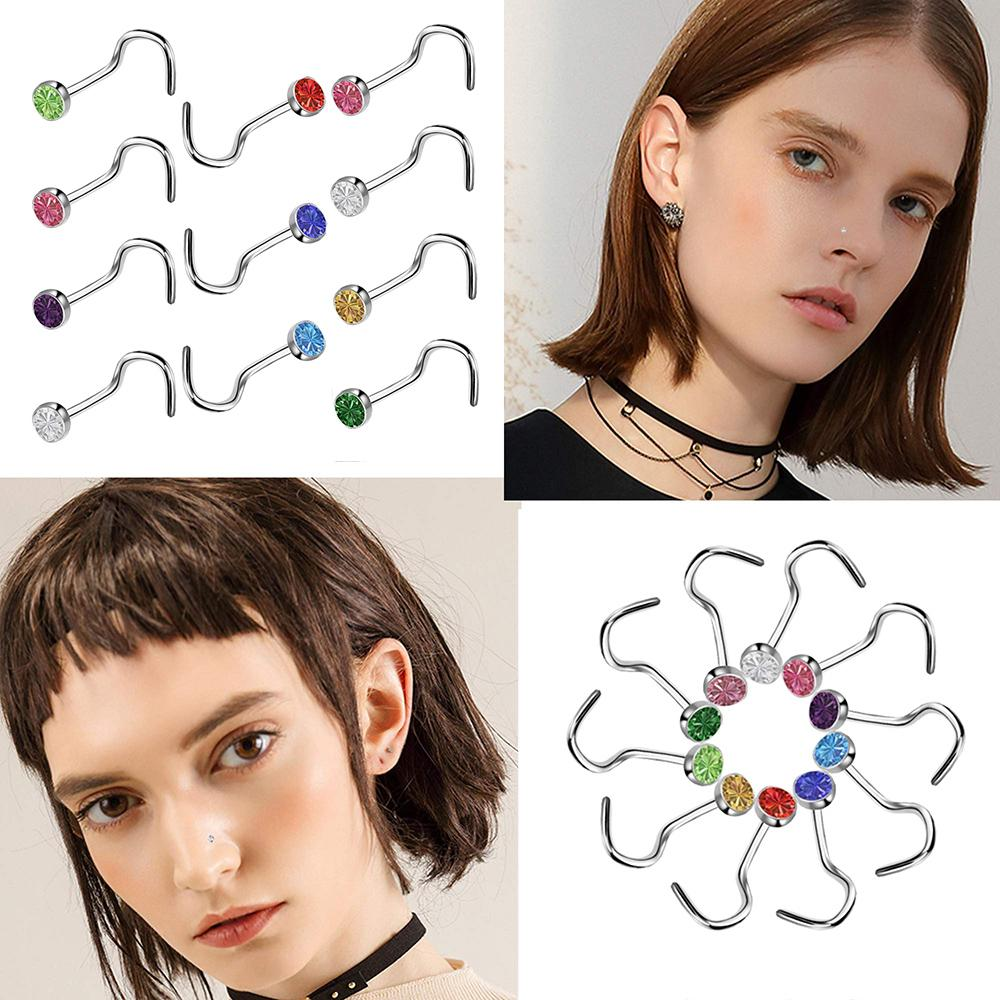 60pcs/lot Rhinestone Crystal Stainless Steel Nose Jewelry Straight Stud Bar Piercing Nose Ring Septum Piercing Nostril