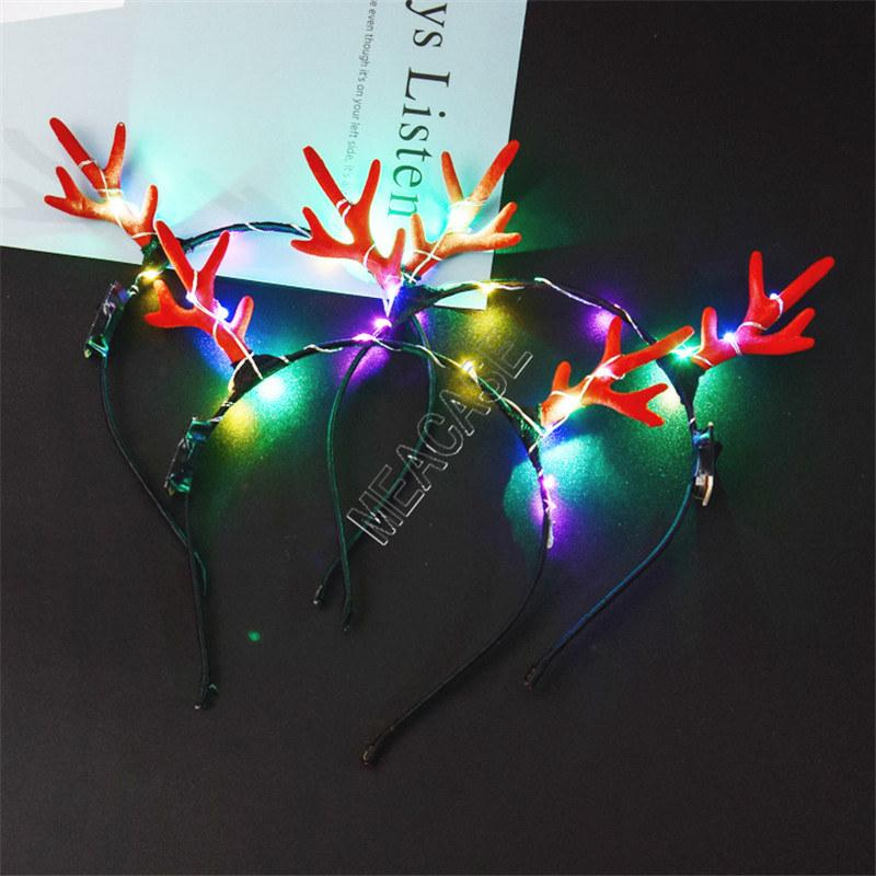 LED Antlers leuchten Stirnband Lumious Flashing Haar haftet Halloween-Weihnachtsfest Cosplay Prop Licht emittierende Weihnachten Deer Haarspange d91703