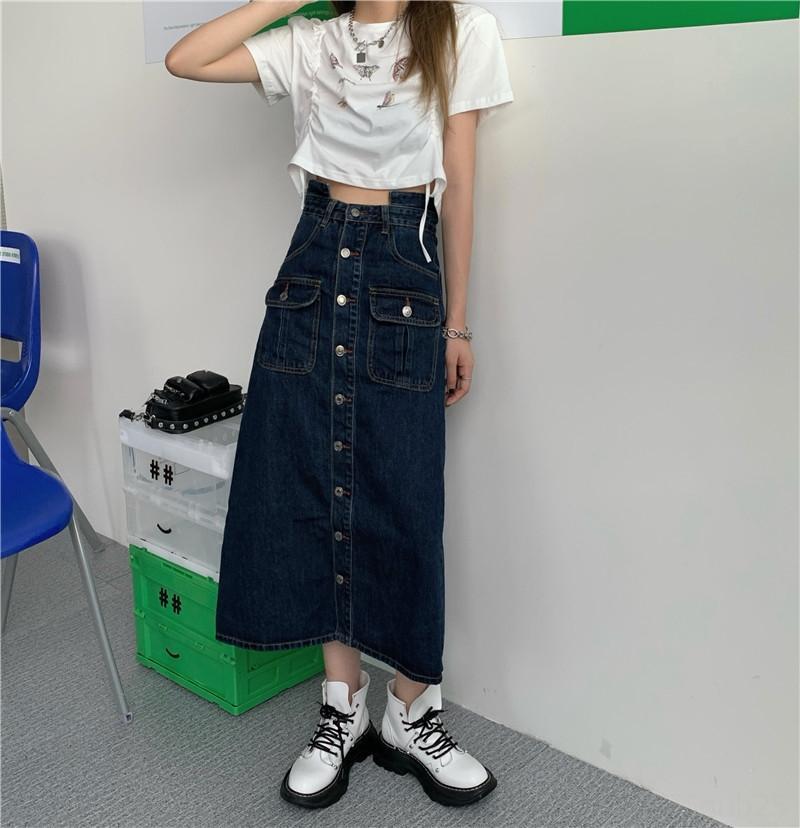dhnxX 2020 mariposa falda larga otoño Nueva Corea Una impresión de la mariposa del verano cordón corta + denim cintura alta falda de la moda estilo largo