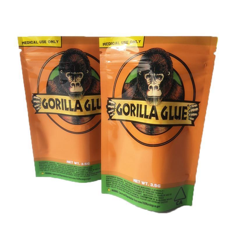 New GORILLA KLEBER BAG Kalifornien 3.5g Mylar Taschen Smell Proof Taschen GORILLA KLEBER Reißverschlussbeutel für trockene Kräuter Blume aging