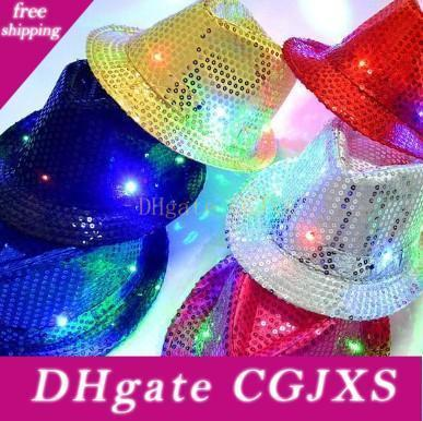 Led Jazz Hats Glow Fashion Colorful Flash Cap Male And Female Club Party Dance Hip Hop Cap Christmas Gift 9 Zj R