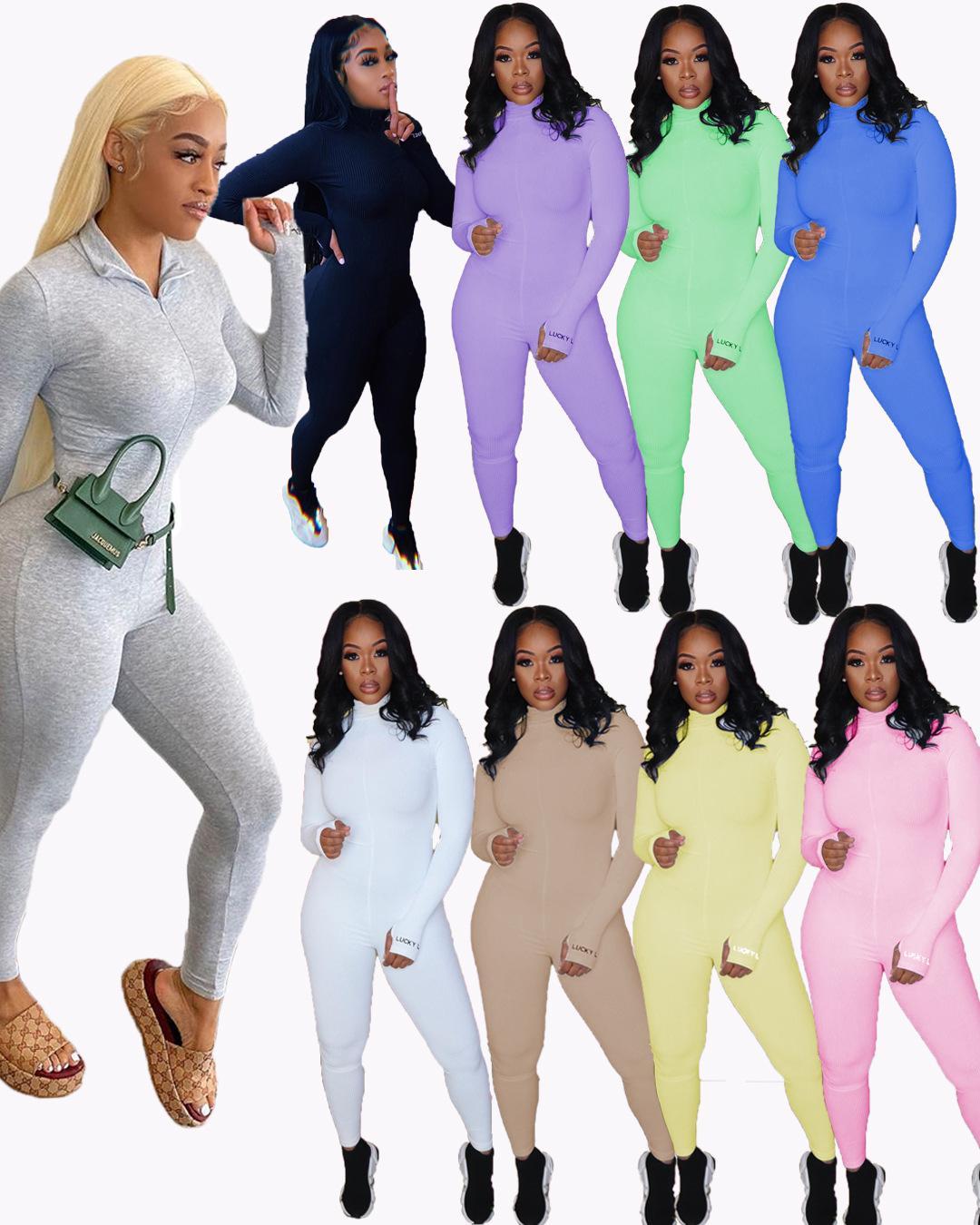 Kadınlar Tasarımcılar Giyim 2020 Süper Yumuşak Kaburga Nakış Stretch Büyük Spor Tulum Triko Artı boyutu Kadın Giyim