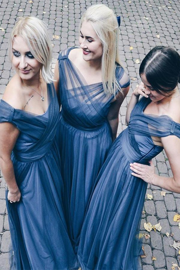 Unique Design Tulle Bridesmaid Gown A Line Maid Of Honor Dresses for Wedding Party Custom Made