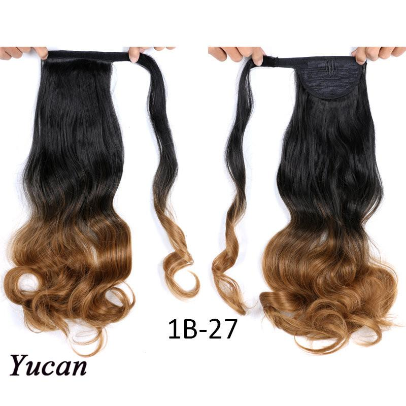 "17"" Long Body Wave Wrap Around Clip In Ponytail Hair Extension 110g/pc Heat Resistant Synthetic Pony Tail Fake Hair Clip in ponytail"