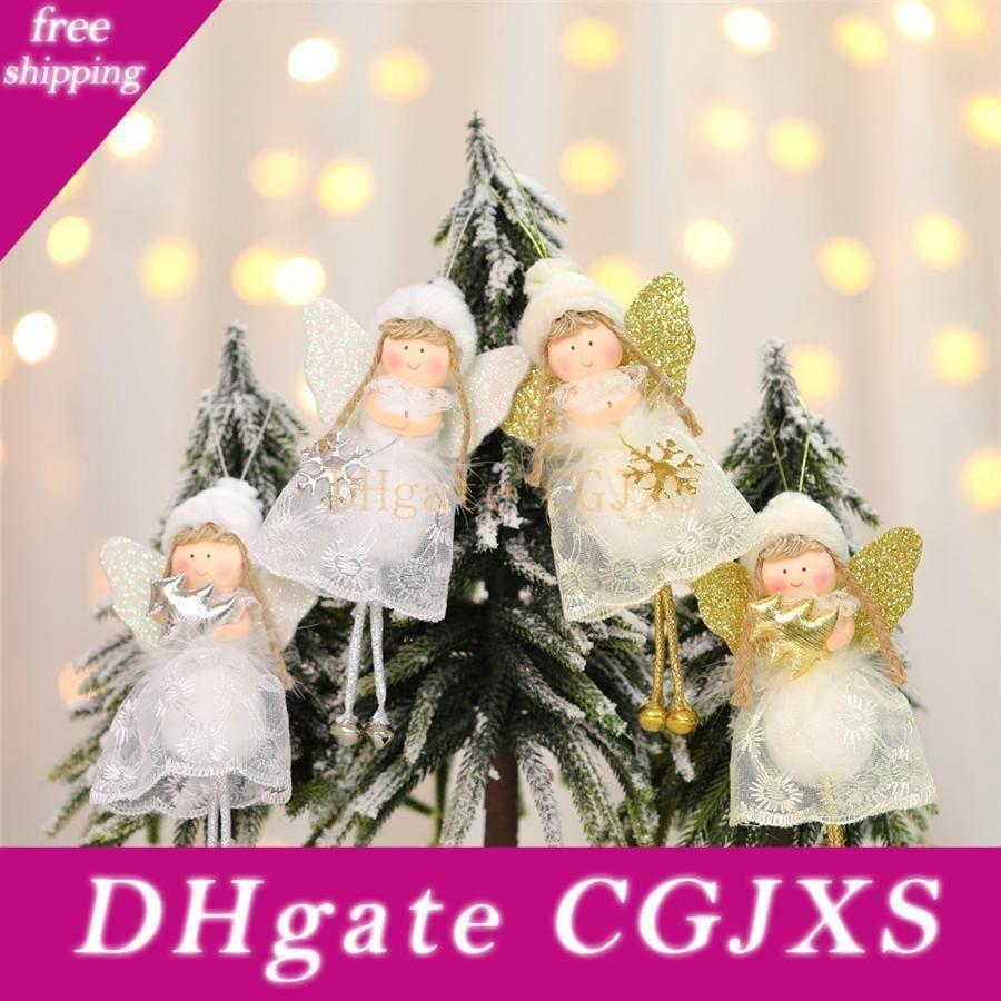 Christmas Tree Pendant Hanging Cute Lace Angel Doll Plush Toy Xmas Decoration Hanging Pendant Ornaments Festival Baubles Jk1910