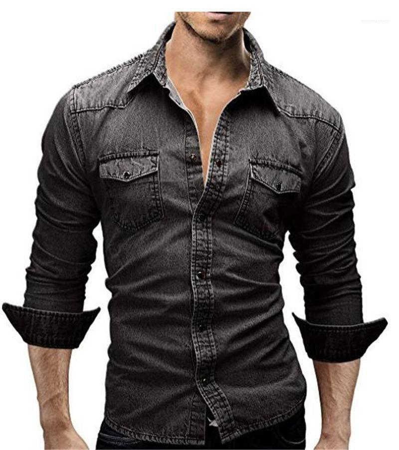 Camisas gola de Slim Sexo Masculino Camisas Casual Mens Denim Jackets manga comprida cor sólida Mens abertura de cama